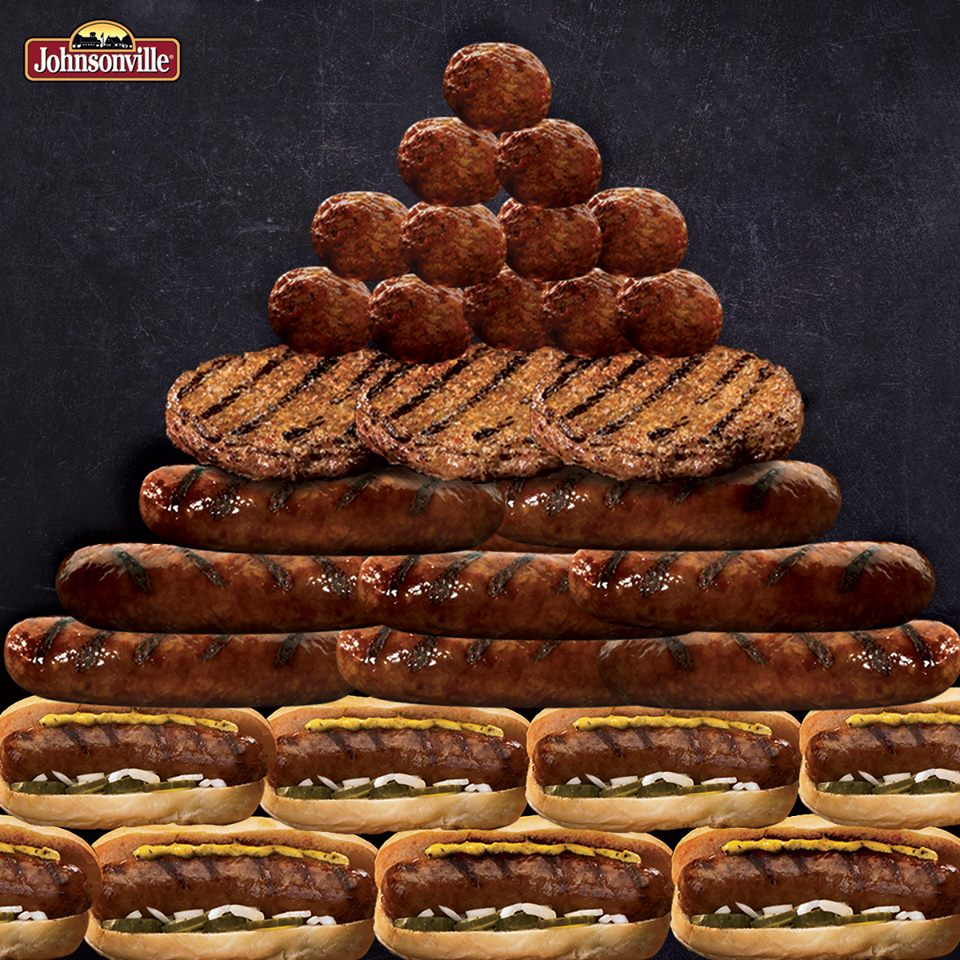A pyramid of meats including meatballs, burgers and brats for johnsonville