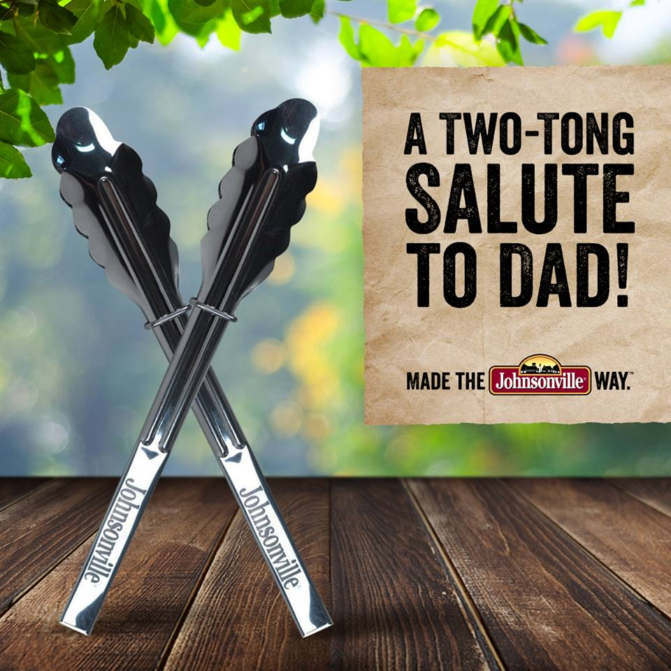 "Two tongs crossed in an ""X"" as a salute to dad for fathers day from Johnsonville"